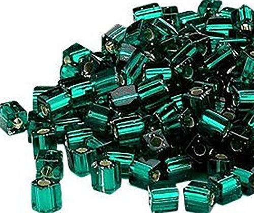 Luxury & Custom {3.5 x 3.7mm w/Approx 1.3mm Hole} of Approx 100 Individual Loose Small Size Square Cube Beads Made of Genuine Glass w/Jewel Tone Shiny Inner Foil Lined Design {Green & Silver}