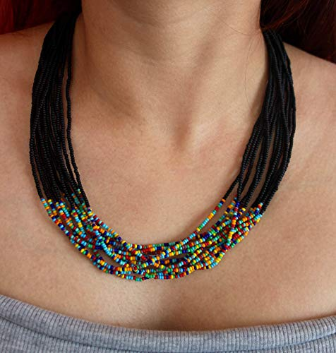 Matte Black with Matte Mixed Beads Accent Multi Strand Seed Beads Necklace, Handmade in ()