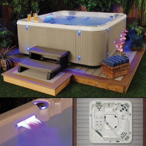 Starlight Hot Tubs Southern Star 5-Person 41-Jet Hot Tub with Sterling Silver White Shell and Gray (Hot Tub Cabinet)