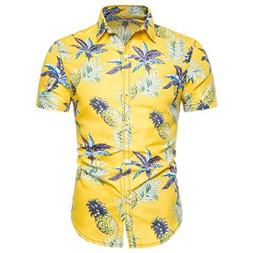 Shirt Short Sleeve Button Down Comfort Summer Basic T Shirt Blouse Fit Slim Printed Top Men (M,8- Yellow)