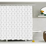 Geometric Shower Curtain by Ambesonne, Abstract Line Image with Geometric Shapes Triangles Hexagonals Squares Image, Fabric Bathroom Decor Set with Hooks, 70 Inches, Black and White