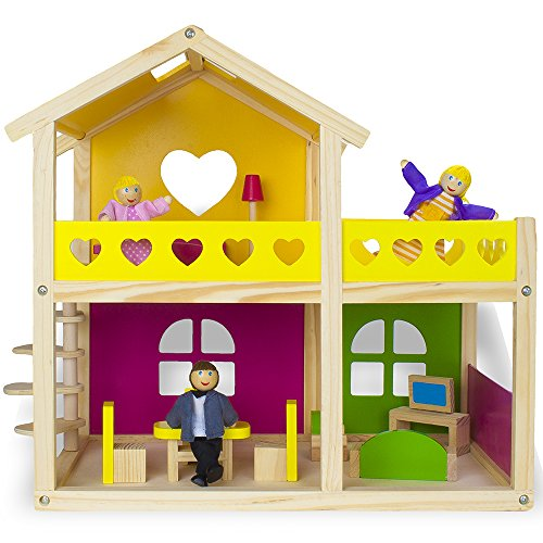 Amazon Com Wooden Wonders Cozy Cottage Dollhouse With 10 Pieces Of