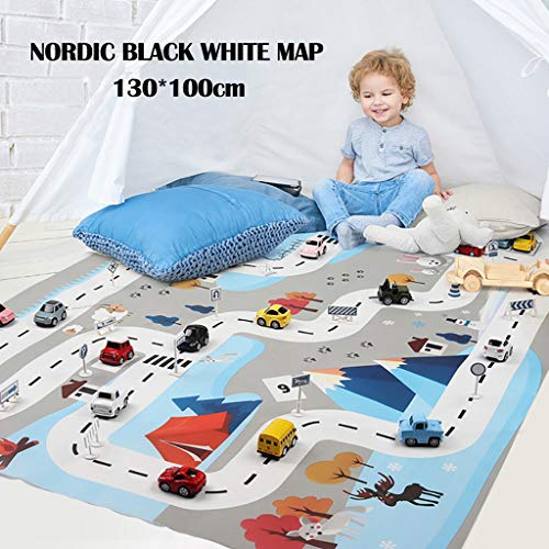 Kids Play Mat City Road Buildings Parking Map Game Scene Map Educational Boy Toy Gift 2019 New (As Shown)