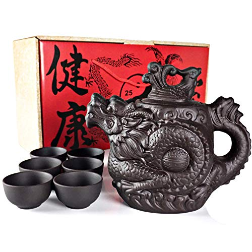 """Sipping Tea Set 8 Pieces made with Premium Quality Chinese Yixing Purple Clay - Teapot """"Dragon"""" model (400ml - 14Oz) + Lid + 6 Small Cups (20ml each - 0.7Oz)."""