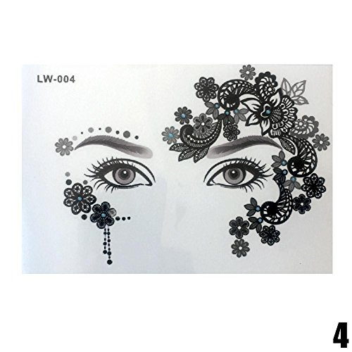 Gracefulvara Waterproof Temporary Tattoo Stickers Forehead Eye Face Design -