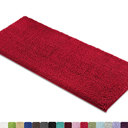 MAYSHINE Bath mat Runners for Bathroom Rugs,Long Floor mats,Extra Soft, Absorbent, Thickening Shaggy Microfiber,Machine-Washable, Perfect for Doormats,Tub, Shower (27.5x47 inches, Red)