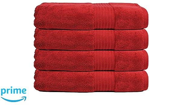 Trident aire ricos tecnología Premium algodón 720 G/m² 4 pcs toallas de baño, color rojo: Amazon.es: Hogar