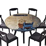 """Round Premium Table Cloth Way for Train to Magical World Kings Cross Famous Landmark Pattern Suitcase Cart Perfect for Indoor, Outdoor 40""""-43.5"""" Round (Elastic Edge)"""