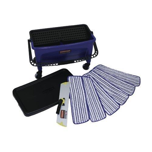 Microfiber Floor Finishing System (Rubbermaid Commercial RCPQ050 Microfiber Floor Finishing System 27 gal. Blue/Bla, Blue / Black / White)