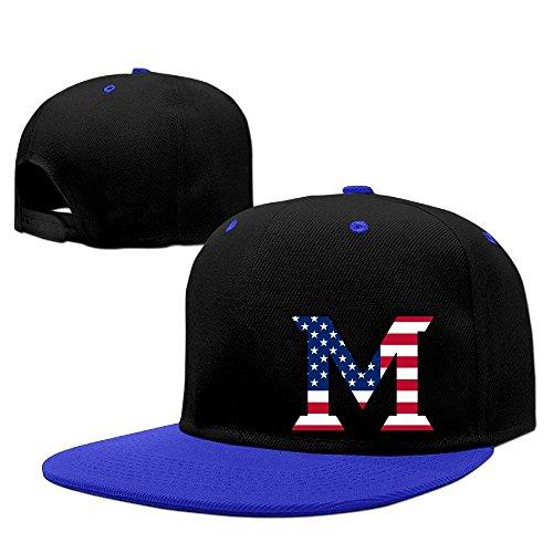 Custom Unisex-Adult Miami M Lgoo Flag University Oxford Flat Brim Hip Hop Caps RoyalBlue from AipYep