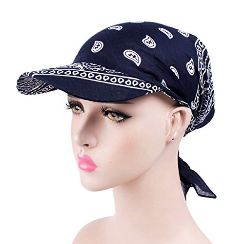 HONENNA Women Anti-UV Stretchable Hat Cap Cotton Chemo Headscraf with Sun Visor (Style 9)