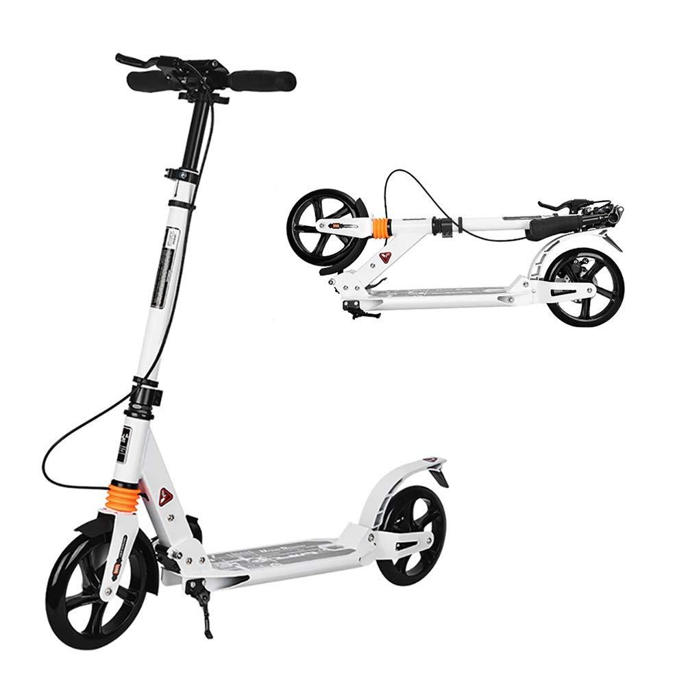 大人用 キックボード 大きい車輪が付いている容易な折る大人の蹴りのスクーター、十代の若者たち/大きい子供のための白い通勤用スクーター、男の子の女の子、サポート100kg、非電気