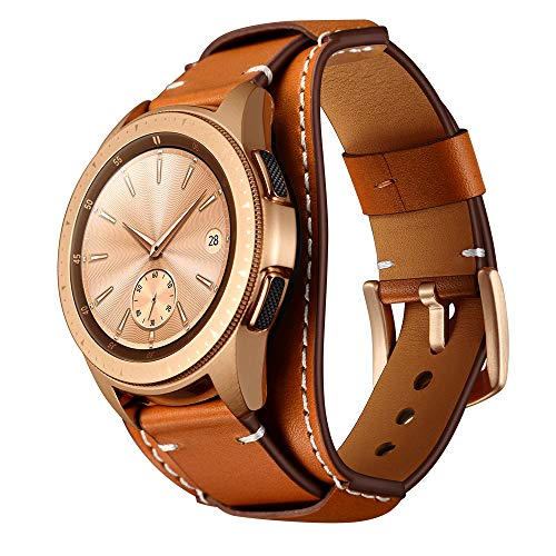- Balerion Cuff Genuine Leather Watch Band,Compatible with Galaxy Watch 42mm,Gear Sport,Gear S2 Classic,Fssil Q Control and Other Standard 20mm Band Width Watch,Brown