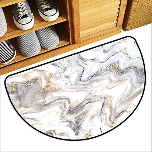 Beautiful Fan-Shaped Bedside Rug Marble Ink Texture Background use for Wallpaper Antiskid Entrance Mat W35xH23 INCH (Trapper Marbles)
