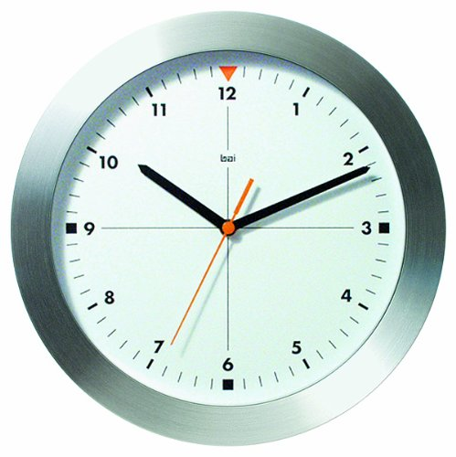 Bai Brushed Aluminum Wall Clock, Formula One White