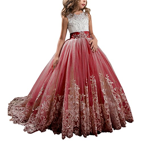 Princess Burgundy Long Girls Pageant Dresses Kids Prom Puffy Tulle Ball Gown US 6 Burgundy Flower Girl Pageant Dress