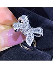 MAIHAO Women Fashion 925 Silver White Sapphire Bow Jewelry Ring Bride Princess Engagement Wedding Gift Size 6-10