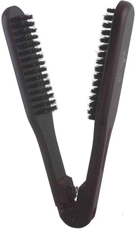 Pelo alisado de Peine Plancha de pelo doble cepillo, mango de madera + natural cerdas de jabalí: Amazon.es: Belleza