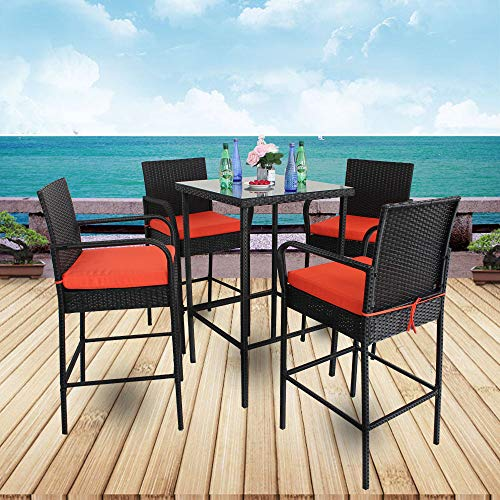 Leaptime Patio Table Chairs Garden Bar Furniture Christmas Party Furniture 5pcs Black Rattan Bar Table and Stools Set Patio Outdoor Wicker Dining Set Easy Assembly Orange Cushion - Set Bench Stool