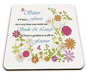 Hermana si tuviera una flor para cada vez que me hizo sonreír taza brillante posavasos