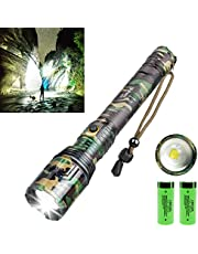 Rechargeable LED Flashlight,90000 High Lumen Brightest Powerful Flashlight,Upgrade P70.2 Tactical Flashlight with 26650 Batteries,5 Modes,Zoomable,IPX5 Waterproof Flashlight for Emergency Camping