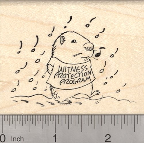 Groundhog Day Rubber Stamp, Woodchuck Witness Protection, Late Spring