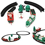 KING DO WAY Treno Giocattolo Elettrico Luminoso Musicale, Modello di Treno di Natale, Treno+Santa+Albero+Slitta Regalo per Festa/Compleanno