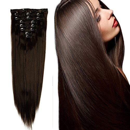 Synthetic Hair Extensions Clip on Japanese Kanekalon Fiber Hairpieces Full Head Thick Long Straight Soft Silky 8pcs 18clips for Women Girls Lady Fashion and Beauty 23'' / 23 inch (#4 Medium Brown)