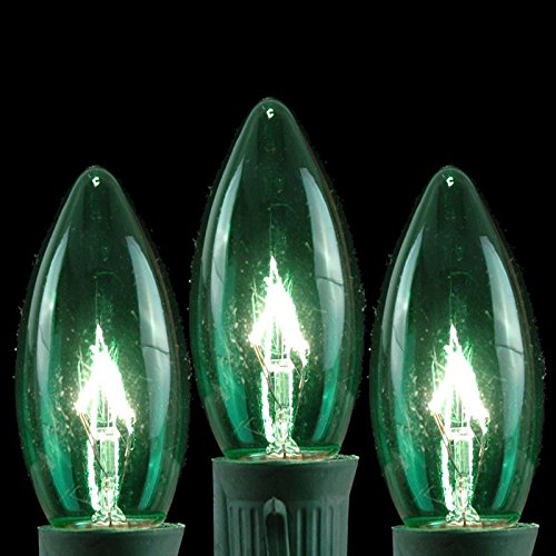 Novelty Lights 25 Pack C9 Outdoor Christmas Replacement Bulbs, Green, E17/C9 Base, 7 (Transparent Green Replacement)