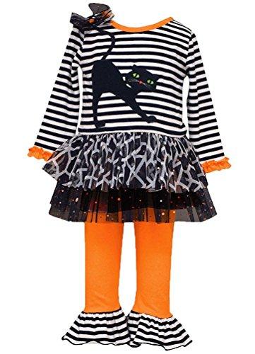 Bonnie Jean Little Girls Halloween Cat Tutu Set, -