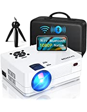 """Native 1080P Projector with WiFi and Two-Way Bluetooth, Full HD Movie Projector for Outdoor Movies, 300"""" Display Projector 4k Home Theater, Compatible with iOS/Android/PC/XBox/PS4/TV Stick/HDMI/USB"""