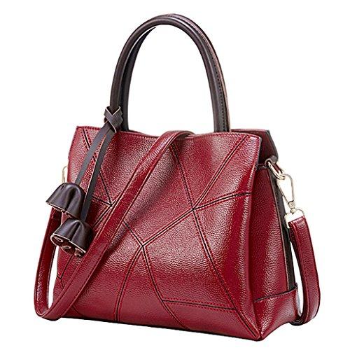 c53a29a0260c Women Leather Cowhide Handbag Top Handle Bags Crossbody Purses and Handbags  (Red)