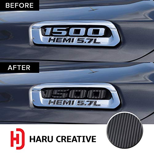 - Haru Creative - Front Hood Emblem Logo Letter Overlay Vinyl Decal Sticker Compatible with and Fits Ram 1500 5.7L Hemi 2019 - Carbon Fiber Black