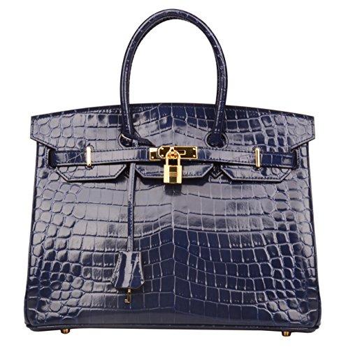 Patent Leather Like Handbag (Ainifeel Women's Patent Leather Crocodile Embossed Top Handle Handbags (35 cm, Dark blue))