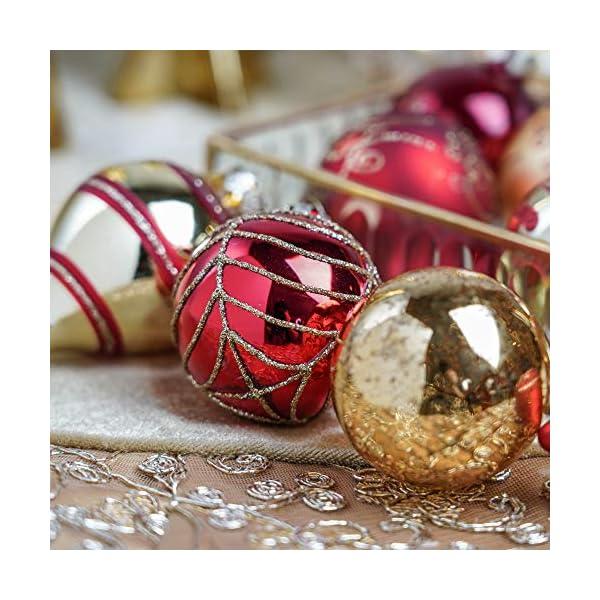 Valery Madelyn Palle di Natale Vetro Addobbi Natalizi Set, 24 Pezzi 6-10.5cm Luxury Red And Gold Palline di Natale Decoration for Addobbi Natalizi per Albero 4 spesavip