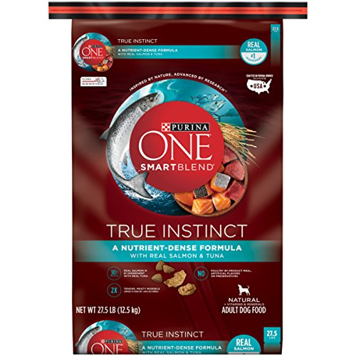 Purina ONE SmartBlend True Instinct with Real Salmon & Tuna NATURAL Adult Adult Dry Food - (1) 27.5 lb. Bag (Dog 1)