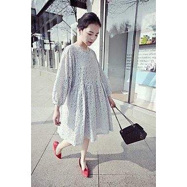 PU&PU Robe Aux femmes Ample Simple,Couleur Pleine Col Arrondi Mi-long Polyester , light blue , xl