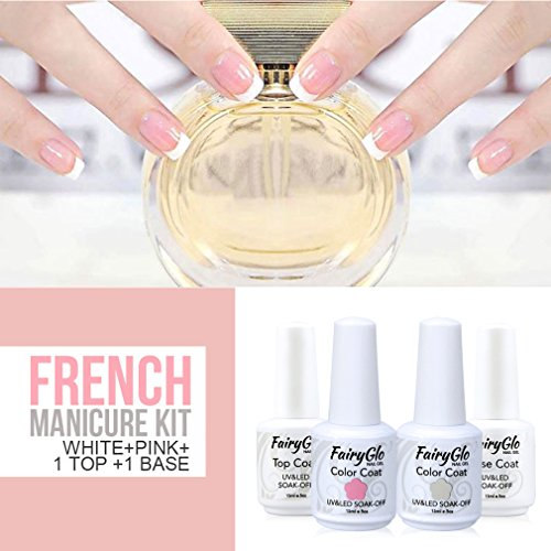 FairyGlo Gel Polish French Manicure Nail Base Top Coat Pink White Free Sticker DIY (Shellac Nail Polish French)