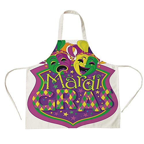 (3D Printed Cotton Linen Big Pocket Apron,Mardi Gras,Comedy and Tragedy Masks with Festive Mardi Gras Carnival Blazon Design Decorative,Purple Green Yellow,for Cooking Baking)