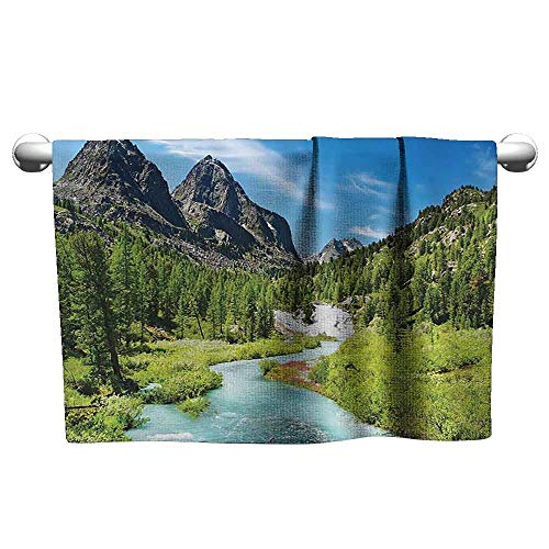 Bathroom Hand Towels Alta Pine Forest Design Collection Rainforest River and Rocky Mountains Scenery Siberia Whitewater Picture Fancy Bath Sheet 39 x 20 inch Blue Green
