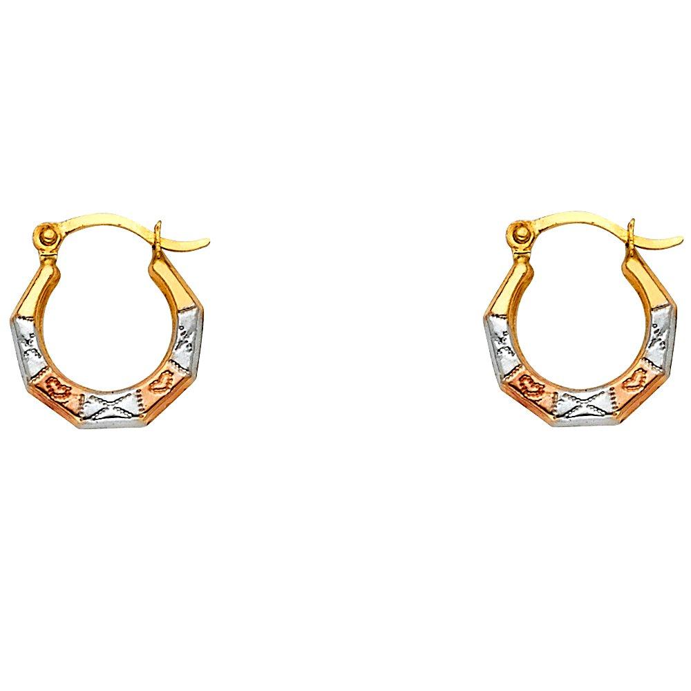 14k Tri Color GoldHeart Pattern Fancy Hoop Earrings 12 x 12mm