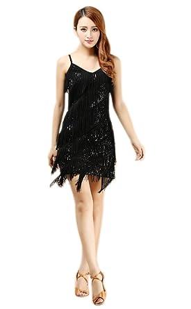 whitewed Women s Fringe Sequin 1920 s Gatsby Flapper Dress Size 8 10 ... 7e19371f9