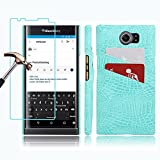 BlackBerry PRIV Wallet Case and Screen Protector, Gzerma Slim PU Leather [Card Holder Slot] with Inner Shock-Absorption PC Bumper Case Cover and High Definition (HD) Clear, Bubble Free Protectiove Film for BlackBerry Priv Smartphone, Blue
