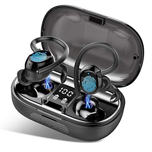 MuGo Bluetooth Headphones IP7 Waterproof, BT5.0 Auto Pairing Deep Bass HiFi Stereo Sound Wireless Earbuds, Touch Control, 120H Playing Time, Noise Cancelling Mic for Home Workout, Running, Gym, Black