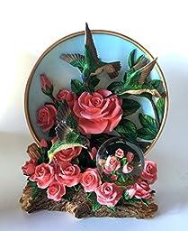 Hummingbird Pink Roses 45mm Diameter Globe And Plate