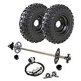 WPHMOTO Go Kart Rear Axle Assembly Complete Wheel Hub Kit & 4.10-6 Tires With Rim & Brake Assembly for Mini Kids ATV Quad