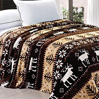 Christmas Holiday Queen Size Brown Reindeer Flannel Fleece Blanket