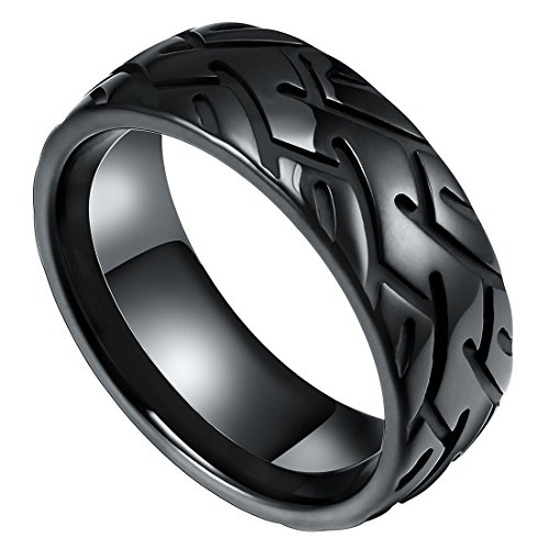 - DOUX 丨8mm Black Mens Tungsten Carbide Wedding Ring Handmade Tire Pattern Groove Design High Polished 10