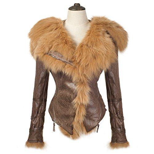 She'sModa Natural Real Fox Fur Collar Hoodie Slim Fit Women's Zipper Fleece Moto Jacket Winter Coat Brown (Fox Fur Coat)