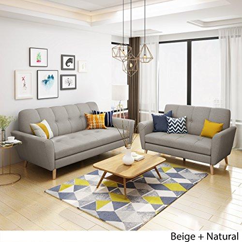 Angelina Mid Century Beige Fabric Sofa and Loveseat Set